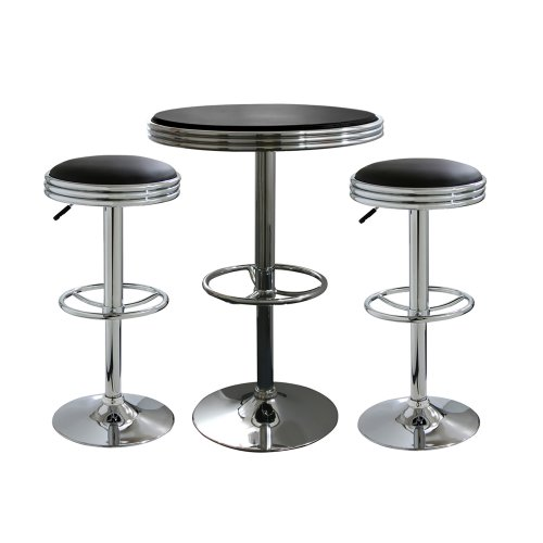 Offex Set of 3 Soda Fountain Style Bar Table and Stool - Black/Silver