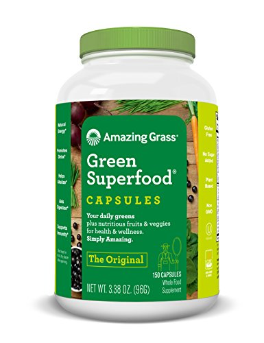 Amazing Grass Green Superfood Capsules with Wheat Grass and Greens, Original, 150 Capsules, Antioxidant Blend, Detox aid