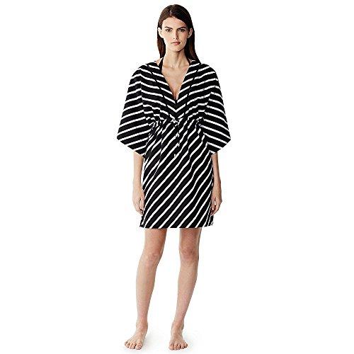 Canvas by Lands' End Women's Cotton Silk Caftan Cover-up, S, Black Diagonal Stripe