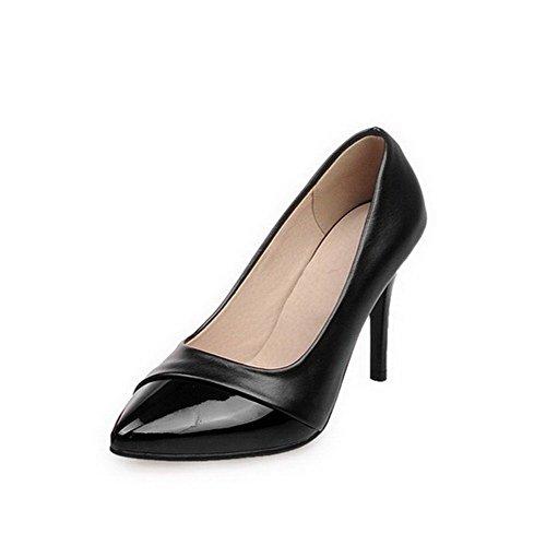 AllhqFashion Damen Lackleder Ziehen auf Spitz Zehe Hoher Absatz Rein Pumps Schuhe, Silber, 40