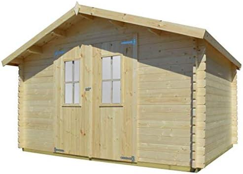 Caseta de miel de 34 mm, 4 x 3 m, casa de jardín de madera maciza, casa para el hogar y el jardín, césped, jardín y balcón, casas de jardín y cobertizos