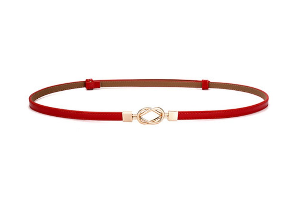 Simple Buckle Female Belt Fashion Decorative Fine Leather Belt,Red Dragon Sonic