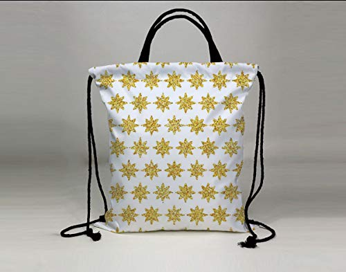 3D Print Drawstring Bag String Backpack,Gold and White,Snowflake Like Party Themed Floral Stars with Geometrical Edges Image,Yellow and White,for Travel Gym School Beach ()