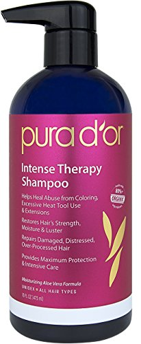 PURA D'OR Intense Therapy Shampoo Repairs Damaged, Distressed, Over-Processed Hair, Infused with Natural & Organic Ingredients, for All Hair Types, Men and Women, 16 Fl Oz