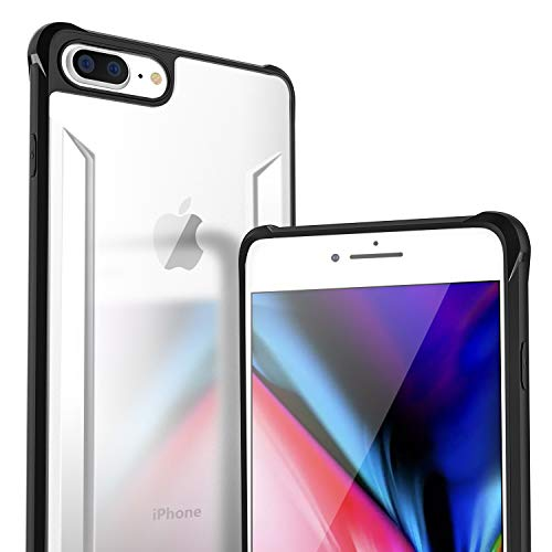 iPhone 8 Plus Case, Ansiwee Reinforced Frosted Glass Clear Hard Back Durable Shock-Absorption Soft TPU Colorful Bumper Protective Case Cover for Apple iPhone 7 Plus iPhone 8 Plus 5.5 inch (Black)