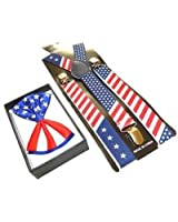 Brand NEW Awesome PATRIOTIC USA FLAG Suspenders And Matching Bow tie Set - Adjustable