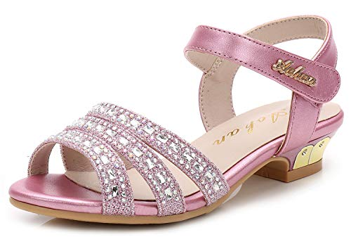 (Walofou Little Girl Sandals Size 4.5 Teen Princess High Heel Wedge Dress Sandals for Girls Big Kids Wedding Summer Bench Youth Girl Dress Sandal Cute Sequins Knot Crystal Pink 11t Shoe (Pink 36)