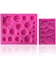 33 Cavity Rose Flowers and Leaves Fondant Candy Silicone Molds Rose Chocolate Molds for Sugarcraft, Cupcake Toppers, Soap, Polymer Clay, Crafting Projects,Wedding and Birthday Cake Decorations