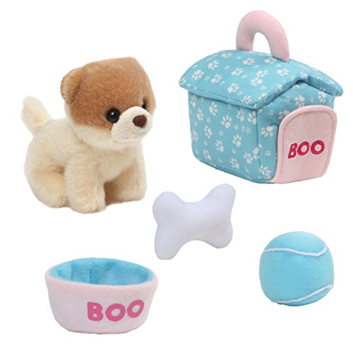 Dog Playset - GUND Boo Dog House Playset Stuffed Animal Plush, 5 pieces