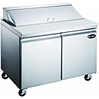 Heavy Duty Commercial Sandwich Salad Prep Table Refrigerator Cooler 2 Door 48