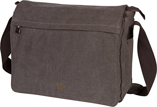 Troop London Canvas Messenger Bag Fits Up To 15 Inch Laptop Size Medium TRP0240 (3 - Black) (London Troop)