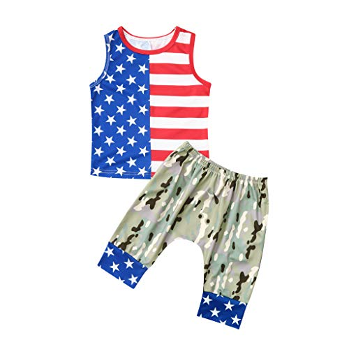 Fiaya 4th of July Toddler Baby Boys Stars T-Shirt With Cap +Striped Pants Outfits Set for Baby Boy (Red Camouflage, 6-12 Months)