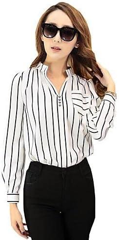 Mujer Camisa Blusa elegante mujer Blusa – Camiseta de mujer – Camiseta de mujer – Botón poliéster manga larga cuello redondo, color Blanco - blanco, tamaño XXL: Amazon.es: Deportes y aire libre