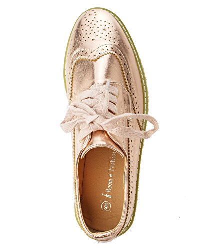 Rose Lugged Shoes Platform ROOM Gold RF Lace Sole FASHION Wingtip Oxford up Buzz Loafers Flatform Flats 01 OF aWqUZY
