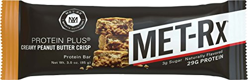 MET-Rx Protein Plus Bar, Great as Healthy Meal Replacement, Snack, and Help Support Energy, Gluten Free, Creamy Peanut Butter Crisp, 85 g, 9 Count