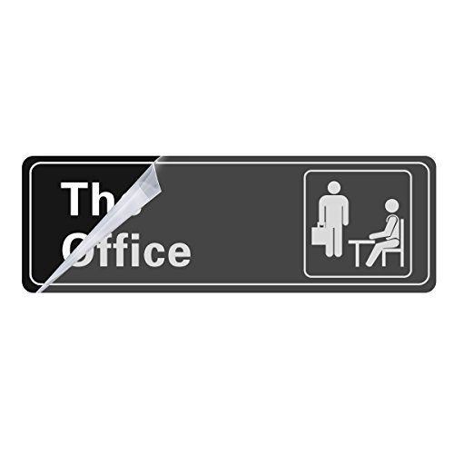 The Office Self Adhesive Sign, 9 X 3 Inch (Black / White) 1-Sign Visual Impact, For Door or Wall, Large or Small Office By Veronica by Veronica (Image #1)