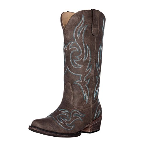 (Women's Western Cowgirl Cowboy Boot | Brown Reno Snip Toe by Silver Canyon)