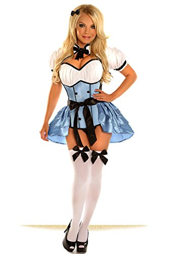 Daisy Corsets Women's Top Drawer Plus Size 4 Piece Alice Costume, Blue, 2X ()