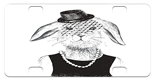 Modern Mini License Plate by Lunarable, Rabbit Girl with Pearls and Vintage Hat Hipster Comic Cute Retro Bunny Graphic, High Gloss Aluminum Novelty Plate, 2.94 L x 5.88 W Inches, - Hipster Comics