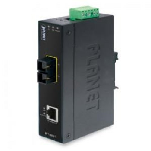 PLANET IFT-802TS15 / 10/100Base-TX to 100Base-FX Industrial Media Converter-15km (-40~75 Degree C) by Planet