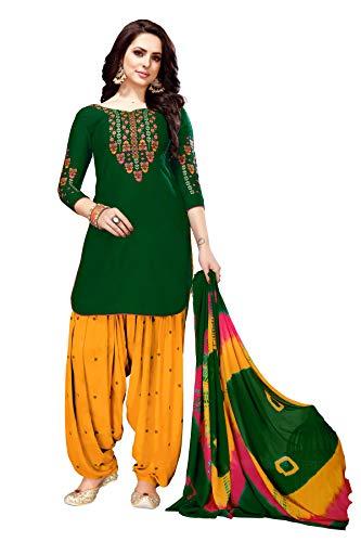 Delisa Patiala Salwar Embroidered Cotton Salwar Kameez Suit India/Pakistani Dress (Green, X-SMALL-36)