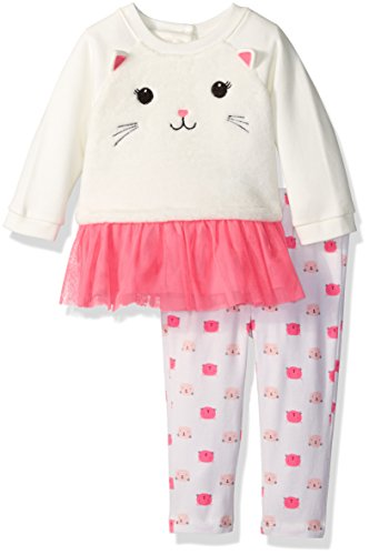 The Children's Place Girls' Long Sleeve Sherpa Pullover with Mesh Set, Cat White, 3-6 Months