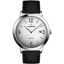 Eterna Men's Eternity 42mm Black Leather Band Steel Case Quartz Silver-Tone Dial Watch 2730-41-13-1396