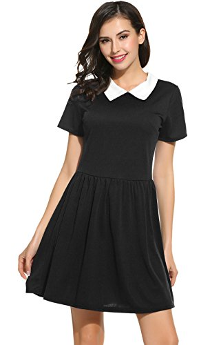 [Short Sleeve black dresses for women peter pan collared dresses (L, Black)] (Sally Brown Costume)