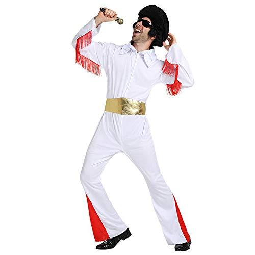 Mens Elvis Costume (Men Elvis Costume Jumpsuit Elvis White Outfit 70s Costumes for Men Halloween)