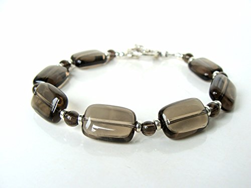 Smoky Quartz Toggle Bracelet - Smoky quartz toggle bracelet, gorgeous clear stones sterling silver, neutral color, handmade by Let Loose Jewelry