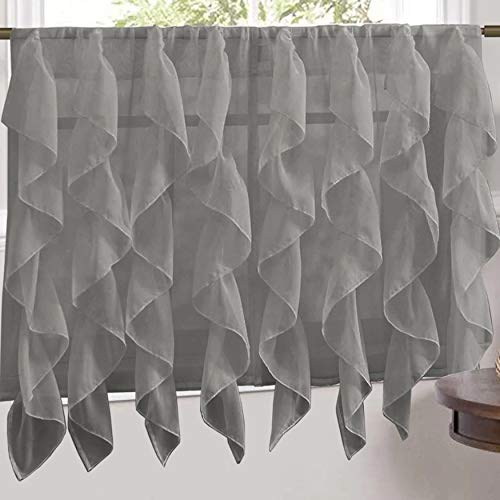 "Sweet Home Collection Veritcal Kitchen Curtain Sheer Cascading Ruffle Waterfall Window Treatment - Choice of Valance, 24"" or 36"" Teir, and Kit, Tier Pair Only, Gray"