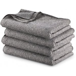 Military Surplus GRAY WOOL BLEND BLANKET 4 PACK, Gray, 4PKB