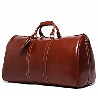 Leathario Mens Genuine Leather Overnight Travel Duffel Weekender Bag Leather Luggage