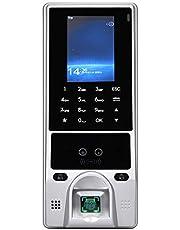 Smart tijdregistratiesysteem, medewerkers check-in recorder, tijdregistratie, toegangscontrole, gezicht, biometrische vingerafdruk, identiteitskaart en wachtwoord