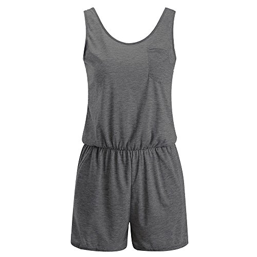 LiLiMeng Womens Holiday Casual Pocket Sleeveless Mini Playsuit Ladies Jumpsuit Summer Beach Rompers Dark Gray