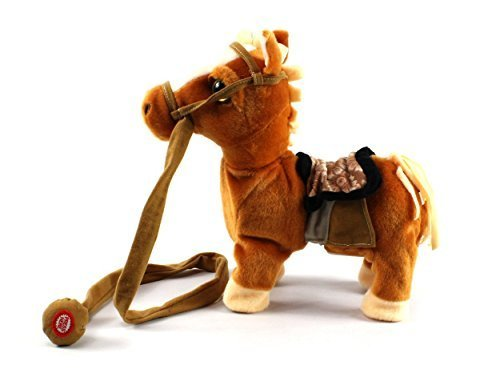 My First Walking Pony, Realistic Walking Actions, Walk Along Toy Stuffed Plush Pony Toy with Music and Horse Sounds (Colors May Vary) (Walking Finger Puppet)