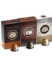 Real Coffee Flavored 30 capsules Hot chocolate, Vanilla, Caramel, Nespresso compatible