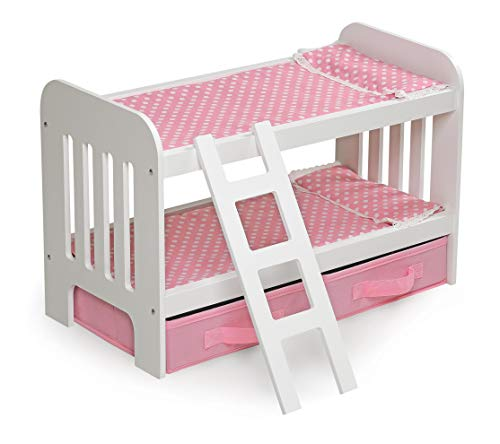 Badger Basket Doll Bunk Bed with Ladder & Storage Baskets (fits American Girl Dolls), Pink/White