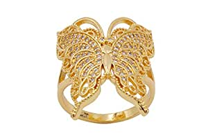 18K Gold Rings Butterfly Style Rings with Fin Cubic Zirconia for Women or Girls -Size 8 US