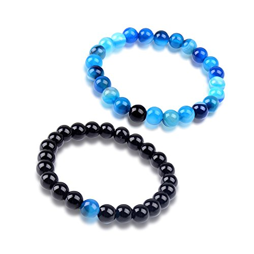 Paxuan Mens Womens 2pcs Imported Natural Gemstone Blue Tiger Eye & Black Agate Beaded Energy Distance Bracelets Couples His and Hers Stretch Beads Bracelet Set 8MM (Blue + - White Blues And Brothers Black