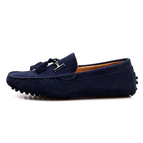 Rismart Hombres Elegante Borla Ante Mocasines Pisos Comodidad Conducción Zapatos del Barco Azul Marino