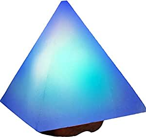 Amazon.com: Rare White Himalayan Salt Lamp with Blue Light in Hand Crafted in Pyramid Shape ~ 5 ...