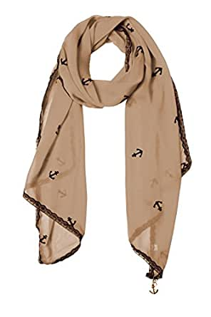 Sheer Vintage Anchor Embossed Scarf with Anchor Charm & Lace Border(Tan)