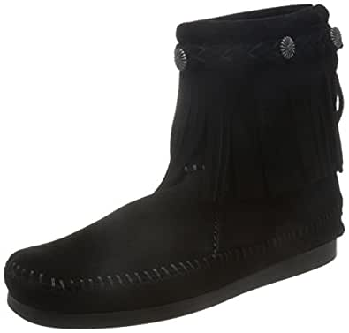 Minnetonka Women's Back-Zip Boot,Black,5 M US