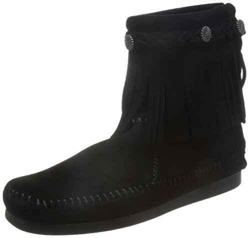 Minnetonka Women's Back-Zip Boot,Black,7.5 M US