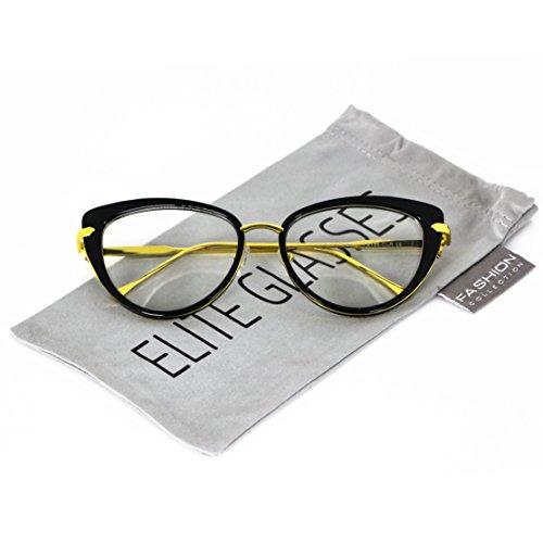 Elite Cat Eye Fashion Design Clear Lens Metal Frame Women Eye Glasses (Black Gold, - Black Metal Frames Eyeglass
