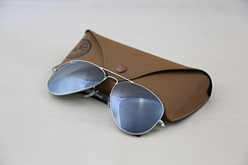 Authentic Ray Ban Aviator RB 3025 W3277 58mm Silver Frame / Full Grey Mirror Medium in - Ray Check Ban