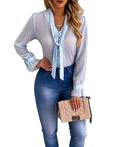 Women Chiffon Dot Tops Ruffle Flare Sleeve Tie T-Shirts Sheer Block Color Sexy Blouses Blue S