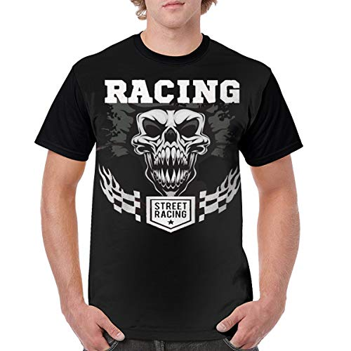 TGDBS2 Racing Clipart Checkered Flag Flames Vector Mens' 3D Graphic T-Shirts Black