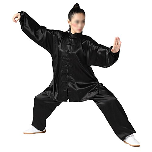 Andux Chinese Traditional Tai Chi Uniforms Kung Fu Clothing Unisex SS-TJF01 Black (M)